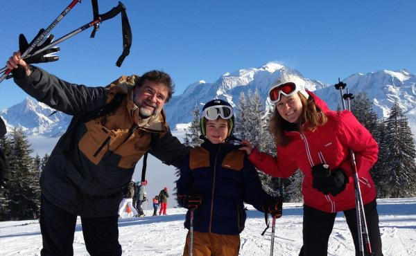 NPR Paris correspondent Eleanor Beardsley with her husband, Ulysse Gosset, and son, Maxime, on a ski vacation in the Alps in February. When she first moved to France, Beardsley enjoyed the frequent holidays. But combined with many school breaks, she and o