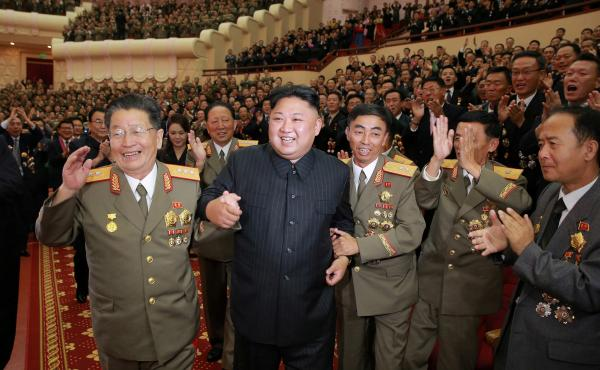 North Korean leader Kim Jong Un at a celebration for scientists and engineers who contributed to the nation's latest nuclear test.