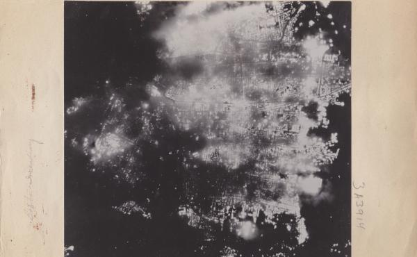 A photograph shows Toyama, Japan, aflame after the U.S. attack on Aug. 1, 1945. Most of the city's population was left homeless.