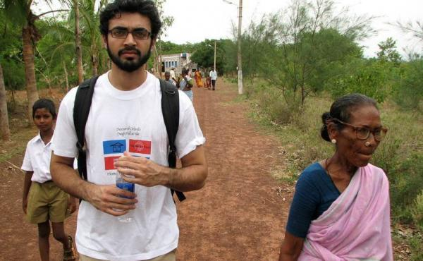 Abraar Karan spent time in rural India in 2008 while working for Unite for Sight, a nonprofit group that provides eye care. Above: He interviews a woman about the challenge of living from severe cataracts.
