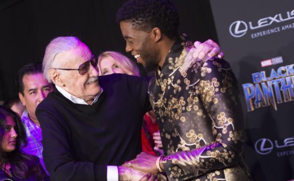 Comic book writer Stan Lee and actor Chadwick Boseman attend the world premiere of Marvel Studios Black Panther.
