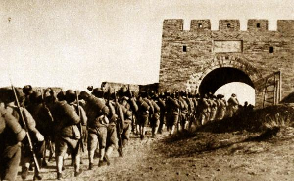 Japanese troops enter Manchuria in 1933. Tokyo sent soldiers and settlers to Manchuria and exerted direct and indirect influence there. Japanese official publications treated Manchuria's people much in the same way as China's Xinhua News Agency now treats