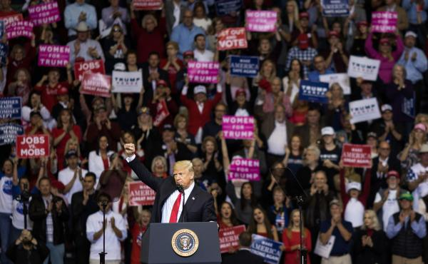 """President Trump addresses the crowd during a rally in Houston in support of Texas Sen. Ted Cruz on Oct. 22,. During the rally, he described himself as a """"nationalist,"""" and encouraged his supporters to use the word."""