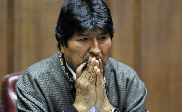 Bolivia's former president, Evo Morales, speaks at the Mexican Journalists Club, in Mexico City, on Nov. 27.