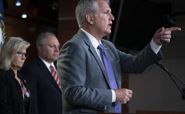 House Republican Leader Kevin McCarthy, R-Calif., joined from left by House Republican Conference chair Rep. Liz Cheney, R-Wyo., and Minority Whip Steve Scalise, R-La., speaks to reporters prior to a vote called by House Speaker Nancy Pelosi, D-Calif., to
