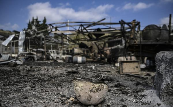 A burned helmet lying on the ground of the hospital in Martakert, a day after shelling during the ongoing fighting between Armenia and Azerbaijan over the disputed region of Nagorno-Karabakh.