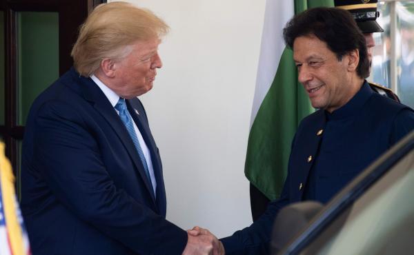 President Trump greets Pakistani Prime Minister Imran Khan at the White House on Monday.