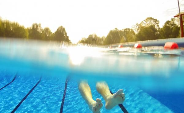 Early morning at the swimming pool.