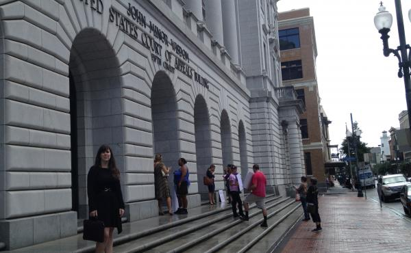 Supporters and opponents of Texas's controversial abortion law gathered Friday afternoon outside the 5th Circuit Court of Appeals in downtown New Orleans. Emily Horne (left) is a legislative associate with Texas Right to Life, a group that lobbied for the
