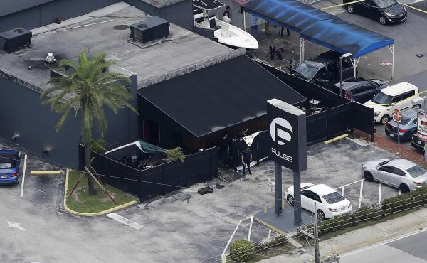 An overhead view of Pulse nightclub in Orlando, Fla., where Omar Mateen killed 49 people and injured dozens more in June 2016. On Wednesday, attorneys delivered opening statements in the trial of his widow, Noor Salman, the only person charged in the atta