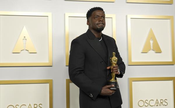 Daniel Kaluuya, winner of the award for best actor in a supporting role for Judas and the Black Messiah, poses in the press room at the Oscars on Sunday.