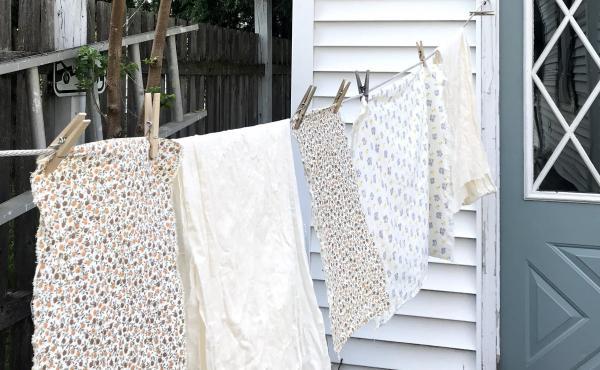 Freshly laundered quilting fabric, courtesy of Emma Bowers.