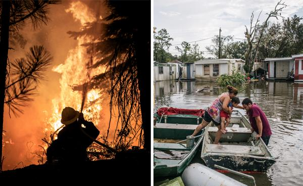 Left: A firefighter with the U.S. Forest Service battles the advancing Caldor Fire on Aug. 28, in Strawberry, Calif. Right: Marlon Maldonado helps his wife and child into a boat to travel to their home after it flooded during Hurricane Ida on Aug. 31, in
