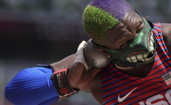 U.S. shot putter Raven Saunders competes in the final at the Summer Olympics on Sunday in Tokyo.