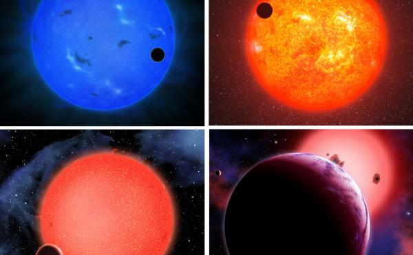Four different artists created four different interpretations of Gliese 1214b, a planet 40 light years from Earth that is believed to have a watery atmosphere.