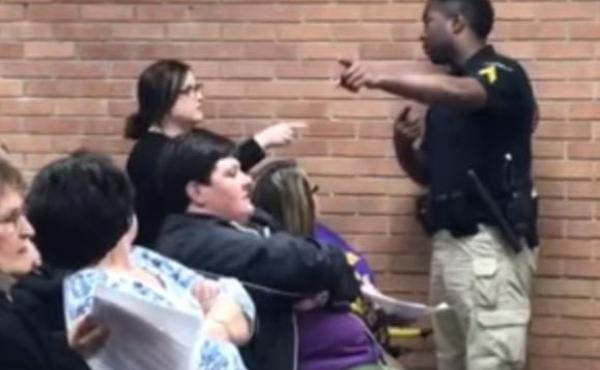 A video on YouTube shows teacher Deyshia Hargrave expelled from a Vermilion Parish school board meeting in Louisiana.