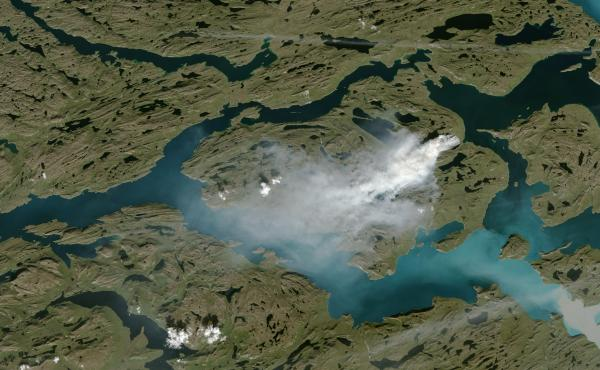 This satellite photograph depicts the wildfire raging in Greenland, as seen from space last week.