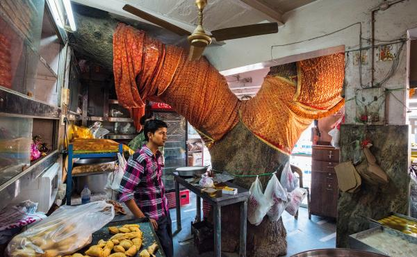 The Sardar Sweet Shop in Varanasi, India, was built around a neem tree considered too holy to cut down. Customers flow in and out, barely noticing the imposing tree. In rural parts, people use the neem tree's leaves to repel insects, the sap for stomach