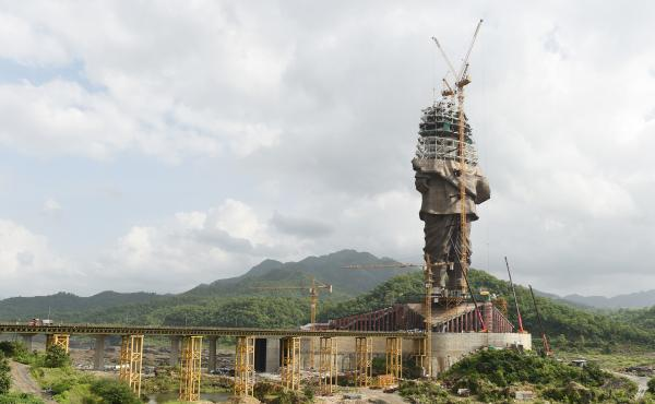 The Statue of Unity, seen dressed in scaffolding just two months ago.