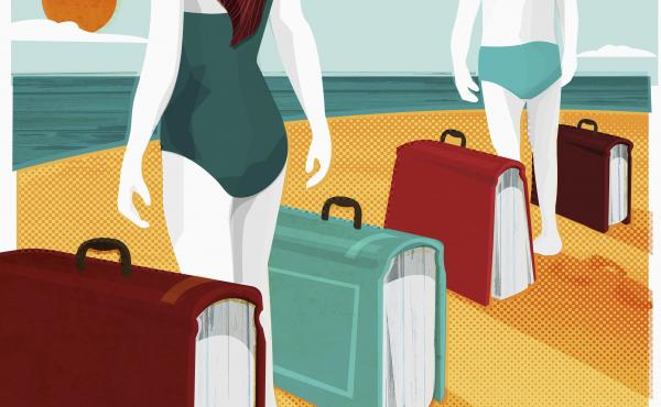 Illustration of two people standing on a beach, with suitcases in the shape of books.