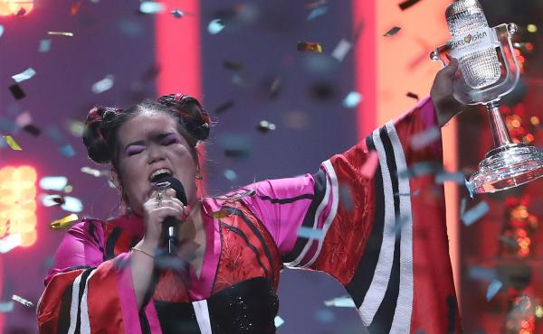 Israeli singer Netta performs after winning the 2018 Eurovision Song Contest in Lisbon, Portugal, in May 2018.