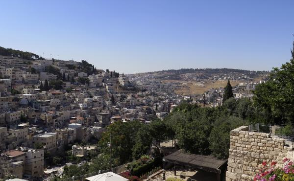 A view of the Silwan neighborhood from the City of David park, with the al-Bustan area at the bottom of the valley.