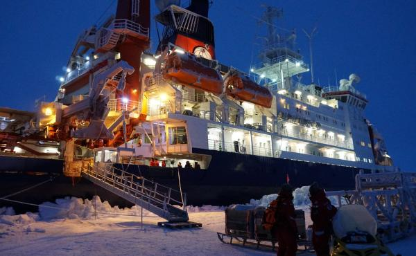 The German icebreaker Polarstern is moored to a piece of ice, drifting for a year, as scientists study the warming Arctic.