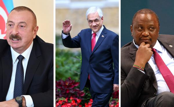 The Pandora Papers cite a number of leaders from lower-income countries or nations with great levels of inequality, among them Azerbaijani President Ilham Aliyev (from left), Chilean President Sebastián Piñera and Kenyan President Uhuru Kenyatta.