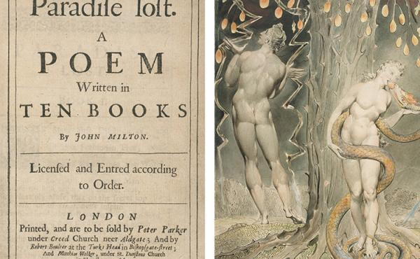 Left: Title page of the first edition of Paradise Lost (1667). Right: William Blake, The Temptation and Fall of Eve, 1808 (illustration of Milton's Paradise Lost)