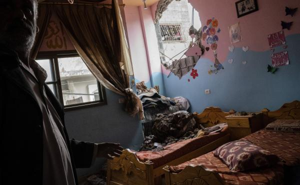A children's room in Beit Hanoun, the northern Gaza Strip, is damaged in a building destroyed by an airstrike prior to a cease-fire reached after an 11-day war between Gaza's Hamas rulers and Israel.