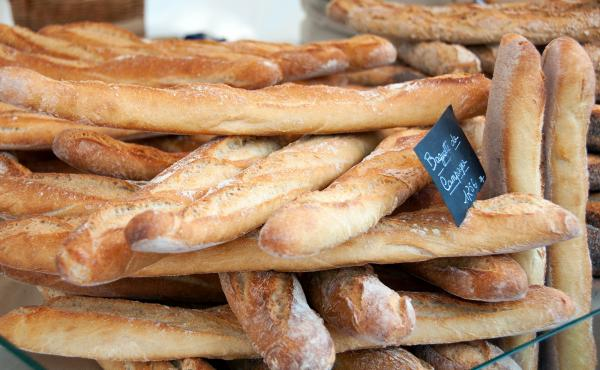 Baguettes on sale at the Edgar Quinet market in Paris.