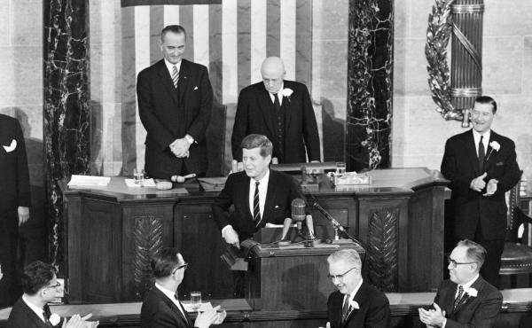 President Kennedy addresses a joint session of Congress on Jan. 30, 1961.