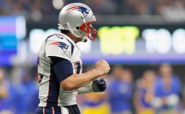 Tom Brady reacts after the New England Patriots score a touchdown in the fourth quarter during Super Bowl LIII