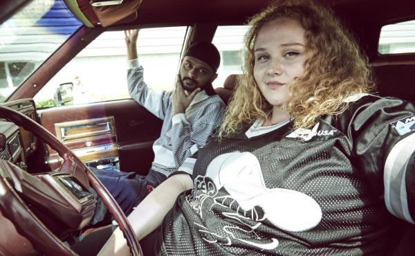 L to R: Jheri (Siddharth Dhananjay) and Patti (Danielle Macdonald) on the road to success in Patti Cake$.