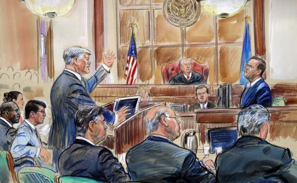 This courtroom sketch depicts defense lawyer Kevin Downing questioning Rick Gates, as former Trump campaign chairman Paul Manafort listens.
