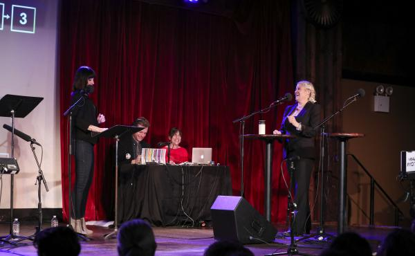 Ask Me Another host Ophira Eisenberg chats with Paula Cole at the Bell House in Brooklyn, New York.