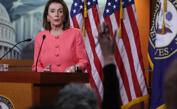 House Speaker Nancy Pelosi, D-Calif., speaks during her weekly news conference on Capitol Hill in Washington, D.C., on Thursday. Among the topics discussed were Attorney General William Barr's failure to appear before the House Judiciary Committee to disc