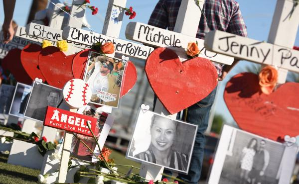 """Some of the 58 white crosses for the victims of Sunday night's mass shooting last Sunday, on the Las Vegas Strip south of the Mandalay Bay hotel on Friday. """"Their names and their stories will forever be etched into the hearts of the American people,"""" Vice"""
