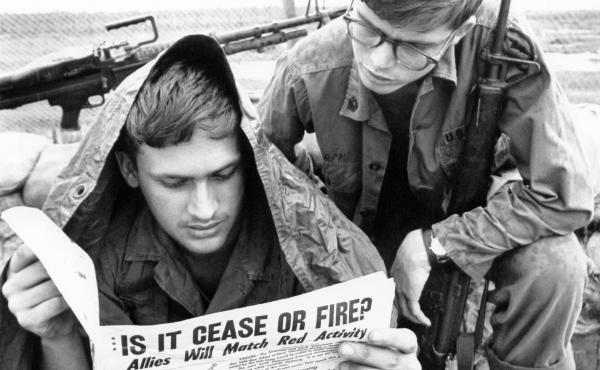 U.S. troops in the Vietnam War read the Stars and Stripes newspaper in 1969. The Pentagon plans to shut down the paper, for generations aimed at U.S. military personnel, at the end of this month.