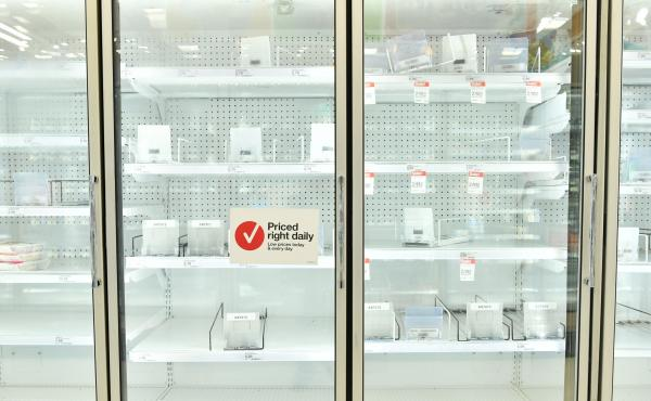 Empty shelves at a Target in Burbank, Calif., on March 14, 2020. Many people across the U.S. are approaching the one-year anniversary of the moment they went into lockdown and realized life as they knew had changed.