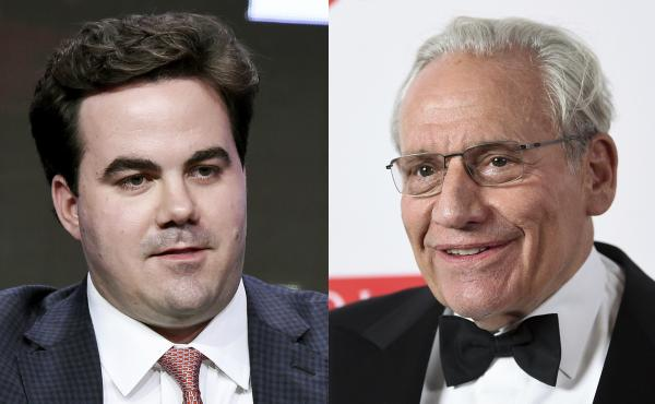Robert Costa (left) in a panel discussion in 2017 and Bob Woodward at the 2019 PEN America Literary Gala in New York. The two have authored a book about the transition between the Trump and Biden administrations.