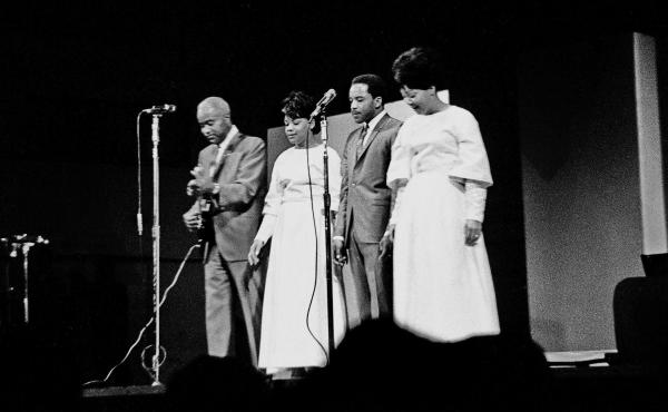 Pervis Staples, second from right, performing with his family in 1965.