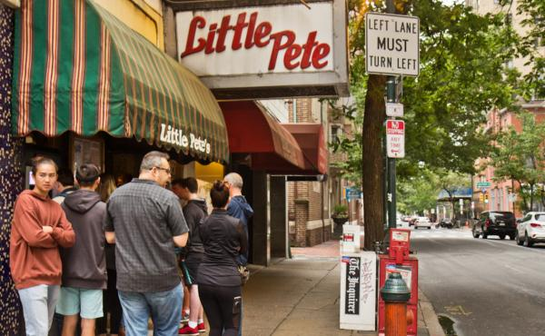 Customers line up outside of Little Pete's on Monday, the diner's last day in business. The landmark and pride of Philadelphia will be razed to make way for a luxury hotel.