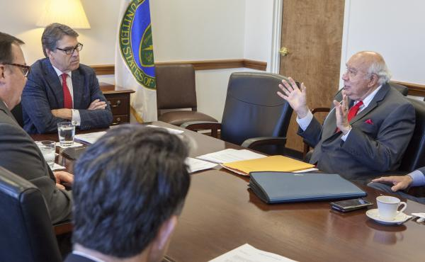 Robert Murray of Murray Energy (right) meets with Energy Secretary Rick Perry at the Department of Energy headquarters in Washington in a March 29, 2017, photo obtained by The Associated Press.