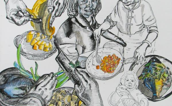 """""""Things were really hard around the time I drew this, I was exploring my family's relationship with one another,"""" Jackie says. """"This one of my mom: I thought a lot about her hands. Her hands are the hands of a laborer. After a life of labor these hands ar"""