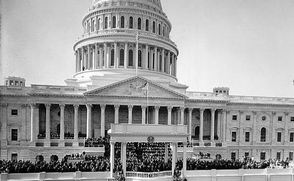 Crowds outside steps of U.S. Capitol for President Theodore Roosevelt Inauguration.