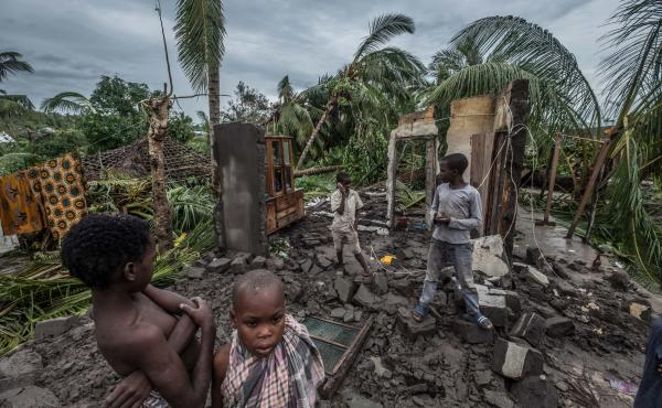 The remnant of one family's house in the town of Macomia in Mozambique after Cyclone Kenneth hit on Thursday. It was the second intense cyclone to strike the country in six weeks.