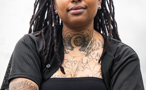 Chantaneice Kitt in Austin, Texas, as part of Exploring Self-Care with QPOC project, that documents the ways various queer people of color living in central Texas heal and care for themselves. For Kitt, the act of getting tattoos is a way to reclaim their