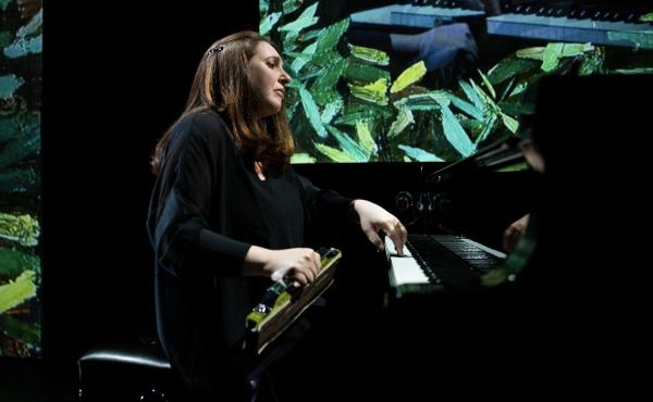 Simone Dinnerstein in dress rehearsal for The Eye Is the First Circle.