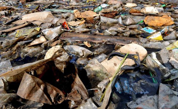 Plastic floats ashore in Jakarta, Indonesia.